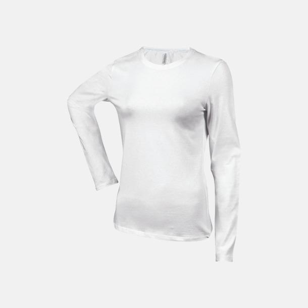 Vit (crewneck, dam) Långärmad t-tröja med rundhals för herr och dam med reklamtryck