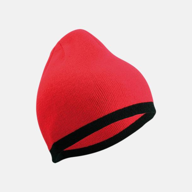 Röd/Svart Stickad mössa med eget tryck
