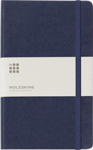 Marinblå (ruled) Moleskines stora anteckningsböcker (ca A5) med linjerade eller rutade sidor - med reklamtryck