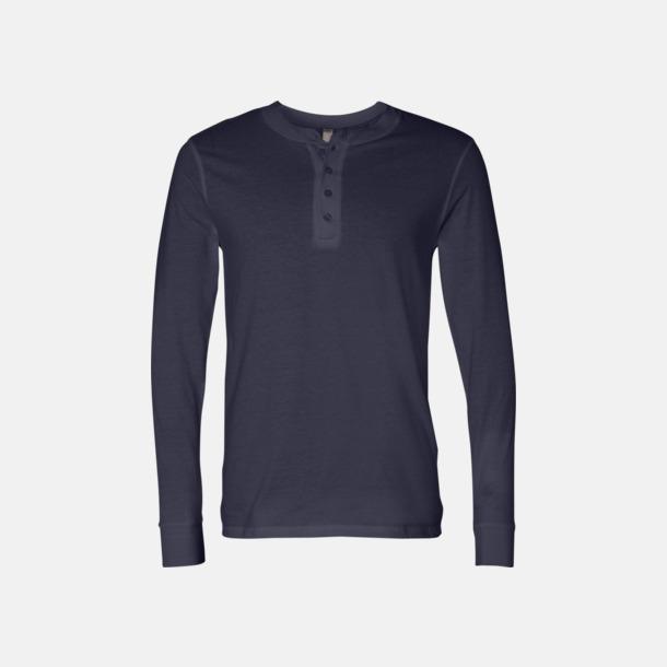 Marinblå Kraglösa piké t-shirts med reklamtryck