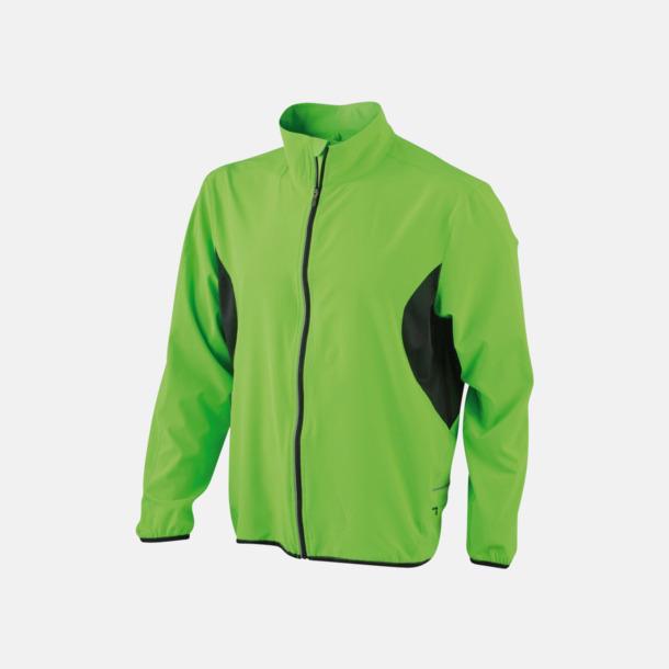 Fluorescerande Grön/svart Lightweight löparjackor med eget tryck