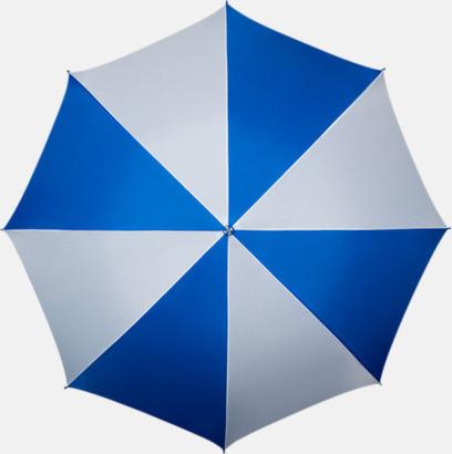 Blå / Vit Golfparaplyer med ergonomiska trähandtag