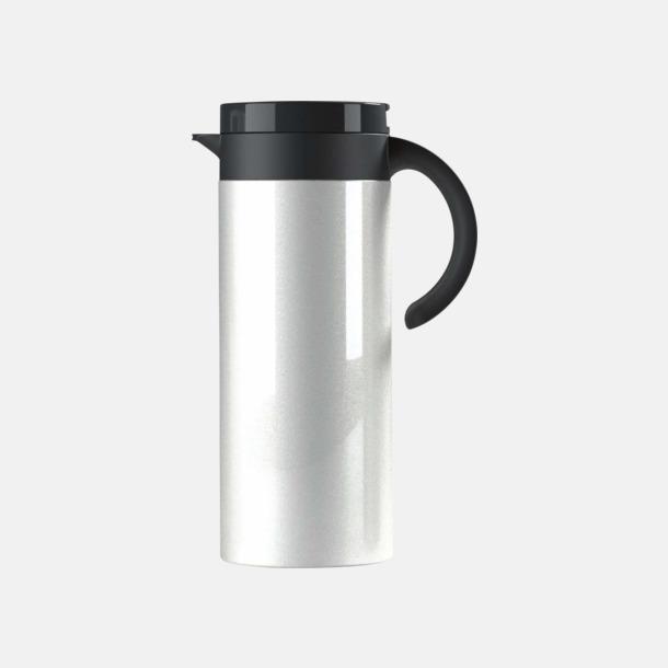 Vit Buffés kaffekanna med reklamtryck