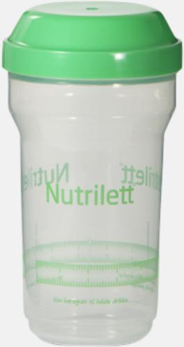 Transparent/Grön Små proteinshakers med reklamtryck
