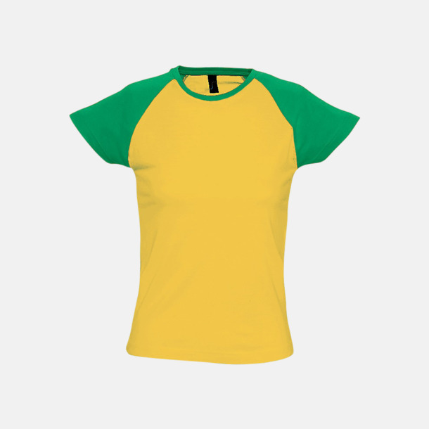 Gold/Kelly Green (dam) T-shirts i herr- och dammodell med kontrasterande färg - med reklamtryck