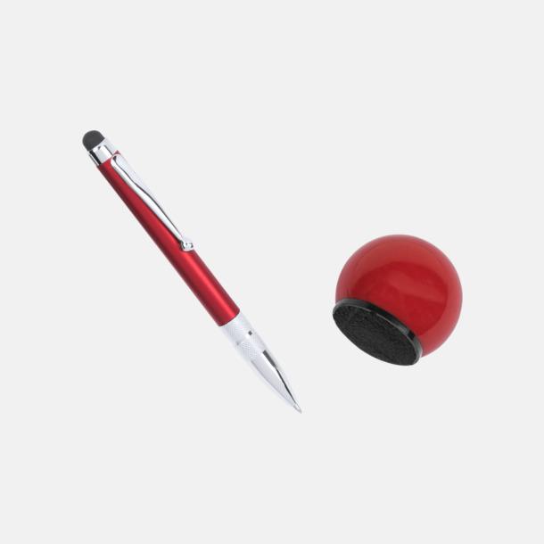 Bläck- och stylyspenna med putsduk i ställ med reklamtryck