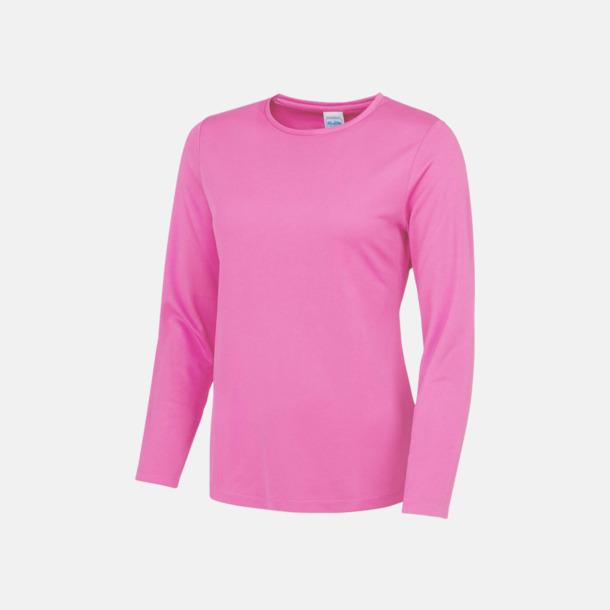Electric Pink (dam) Unisex tränings t-shirts med långa ärmar - med reklamtryck