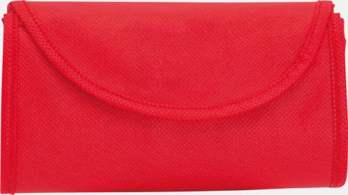 Röd Vikbara non-woven påsar med kardborrestängning - med reklamtryck