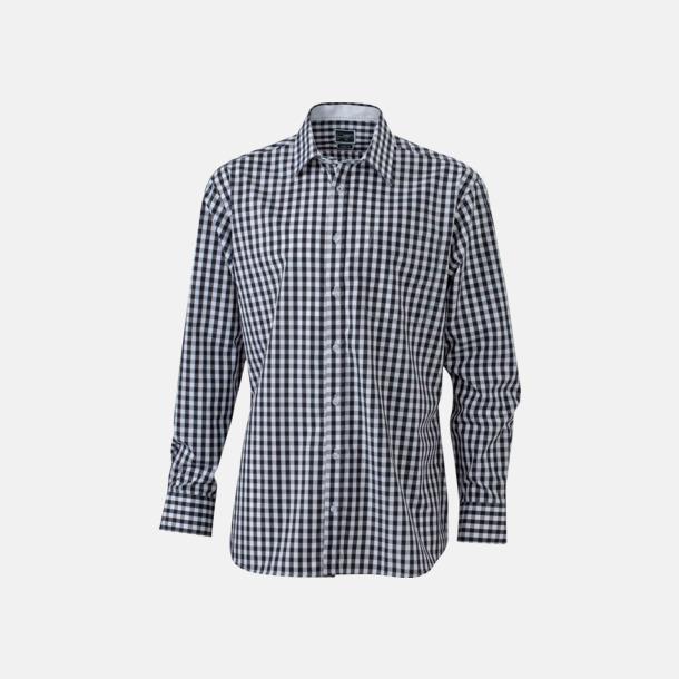 Svart/Vit (herr) Rutiga bomullsskjortor & -blusar med reklamtryck