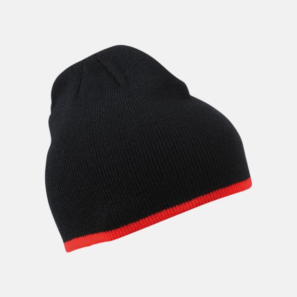 Svart/Röd Stickad mössa med eget tryck