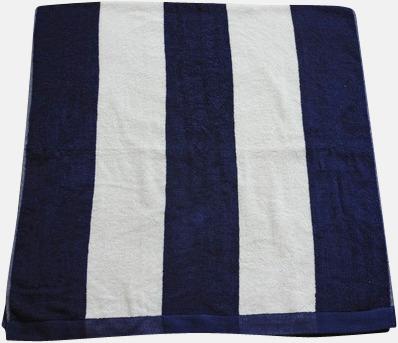 Marinblå/Vit Randiga terry handdukar med reklambrodyr