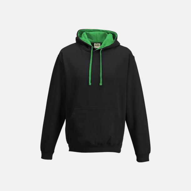 Jet Black/Kelly Green Huvtröjor med insida av luva och dragsko i kontrasterande färg - med reklamtryck