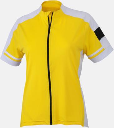 Sun Yellow (dam) Herr- och damcykeltröjor med hel dragkedja - med reklamtryck