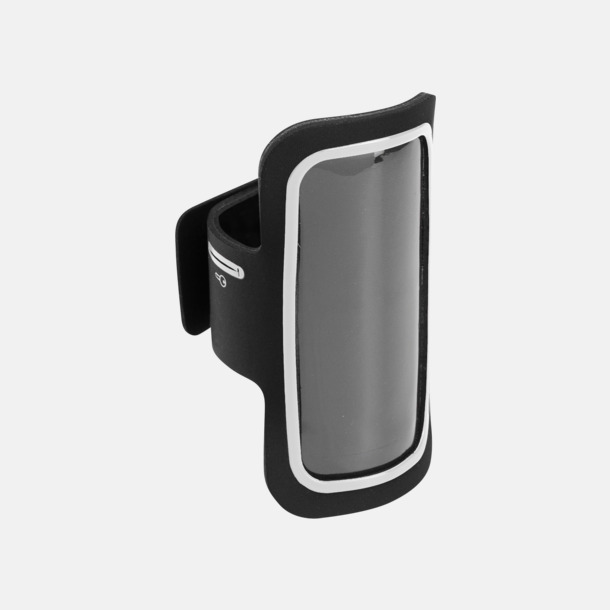 Svart/Vit Armband som passar iPhones och Galaxy smartphones med reklamtryck