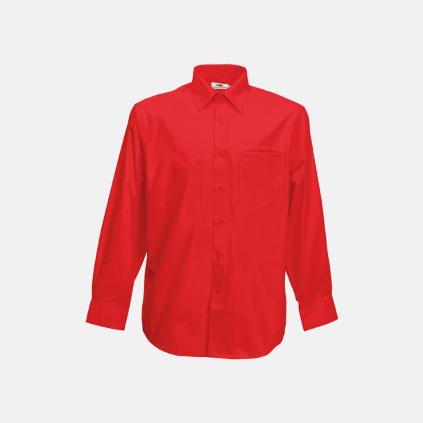 Röd Long Sleeve Poplin Shirt med reklamlogo