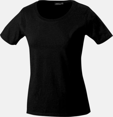 Svart T-shirtar av kvalitetsbomull med eget tryck