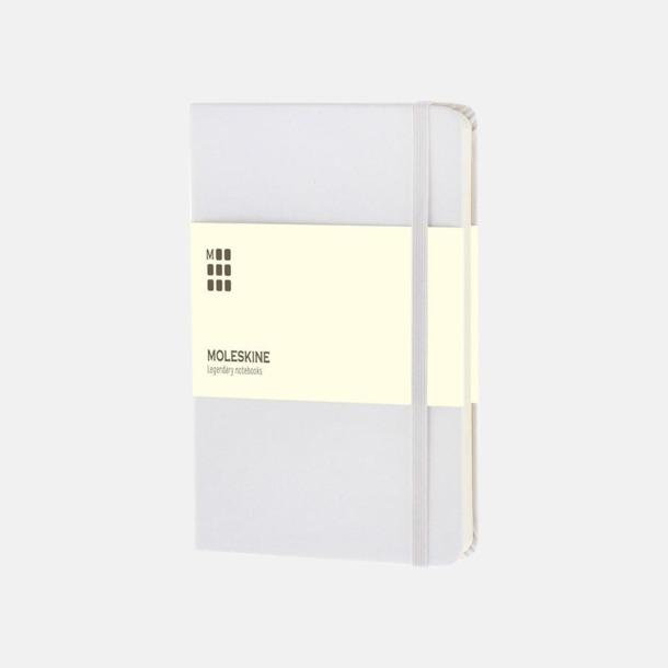 Vit (pocket) Moleskine-böcker med blanka sidor och hårt omslag - med reklamtryck