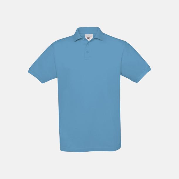 Sky Blue Kortärmade pikétröjor med egen brodyr