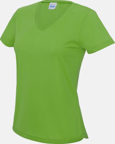 Limegrön Damtröjor i funktionsmaterial med reklamtryck