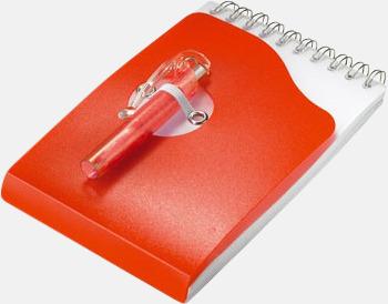 Röd Kompakta notisblock med penna - med tryck