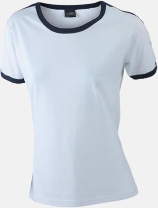 Vit/Marinblå (dam) T-shirts med kontrastfärger - med reklamtryck
