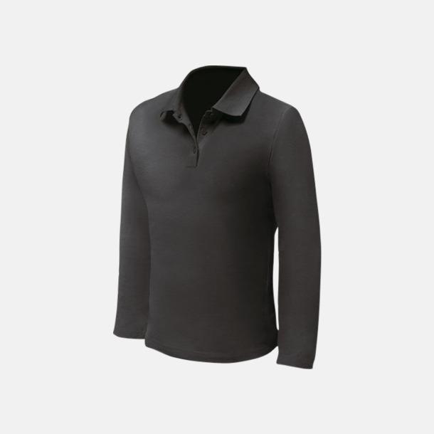 Svart (herr) Långärmade pikétröjor till lägre priser med reklamtryck