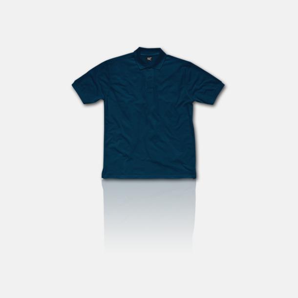 Marinblå Fina pikétröjor för herr, dam & barn med reklamtryck
