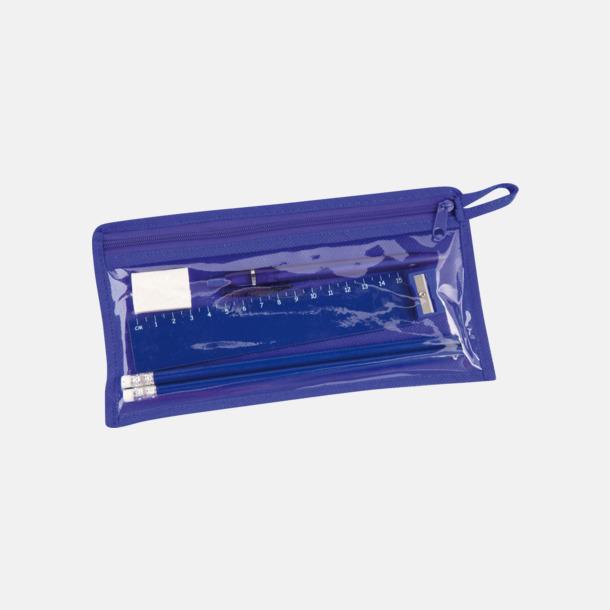 Blå Pennskrin med pennor, linjal, vässare och sudd - med tryck