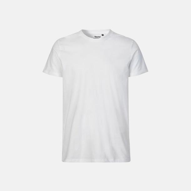 Vit (herr) Fitted t-shirts i ekologisk fairtrade-bomull med tryck