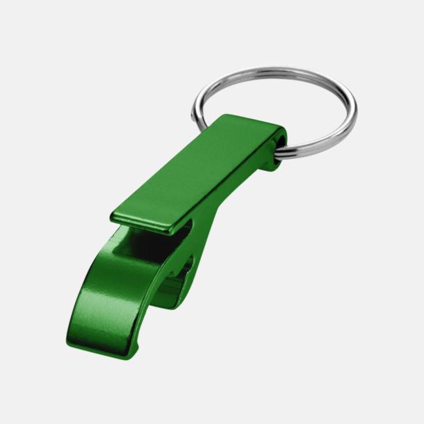 Grön Nyckelring och kloöppnare med tryck eller lasergravyr