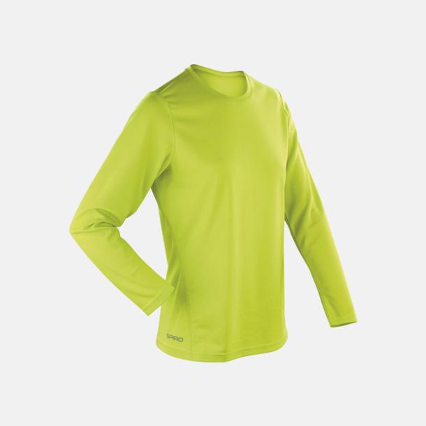 Limegrön (dam) Långärmade funktionströjor i herr- & dammodell med reklamtryck