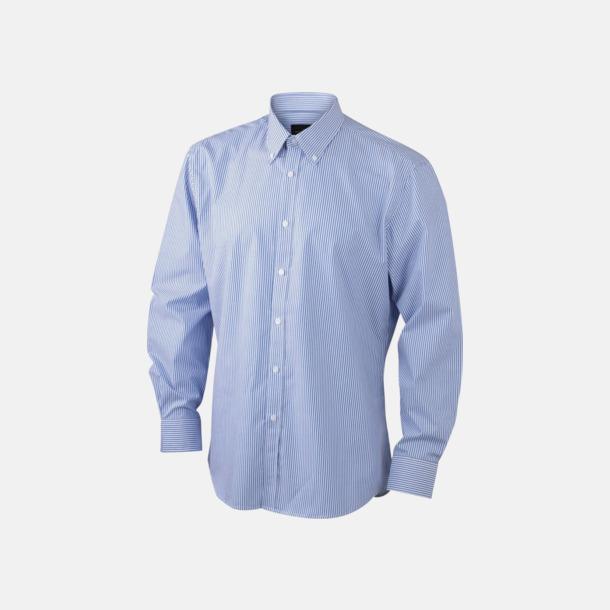 Vit/Blå (herr) Bomullsblusar & -skjortor med fina ränder - med reklamtryck