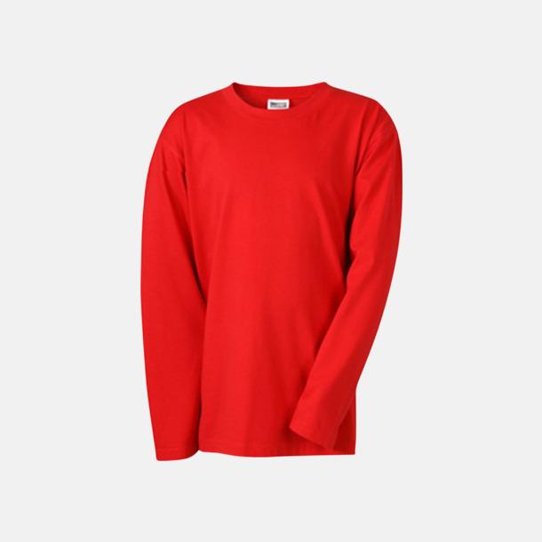 Röd (barn) Långärmade t-shirts i herr-, dam- & barnmodell med reklamtryck
