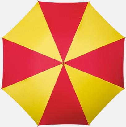 Röd / Gul Randigt paraply med ergonomiskt trähandtag