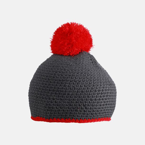 Carbon/Röd Toppluvor med rand och toft i annan färg - med bordyr