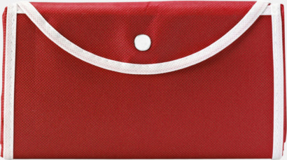 Röd / Vit Vikbara non woven-påsar med knäppning - med reklamtryck