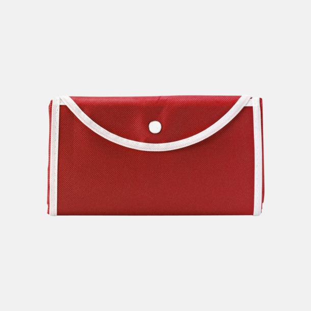 Röd/Vit (bärkasse) Vikbara non woven-påsar med knäppning - med reklamtryck