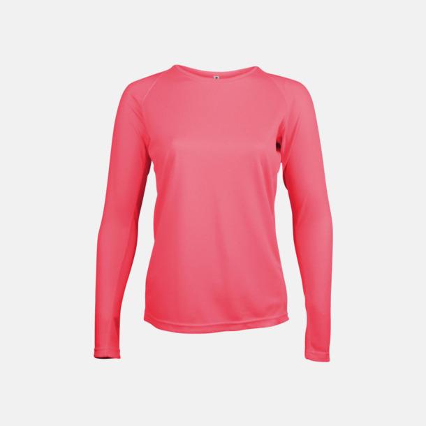 Floucerande Rosa Sport t-shirts med långa ärmar för kvinnor - med reklamtryck