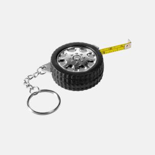 Måttband och nyckelring i form av ett däck