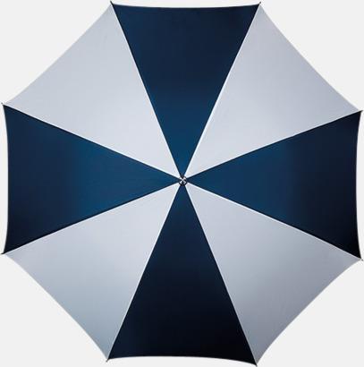 Marinblå / Vit Golfparaply med rundad träkrycka