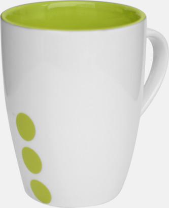 Limegrön (prickig) Stengodsmuggar med randig eller prickiga detaljer - med reklamtryck