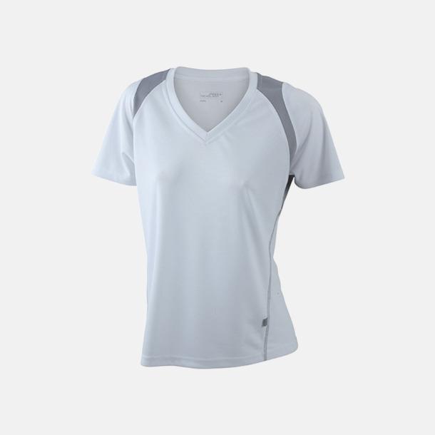 Vit/Silver (solid) Flerfärgade funktionströjor med eget tryck