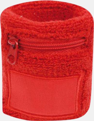 Röd Armsvettband med label och blixtlås - med tryck