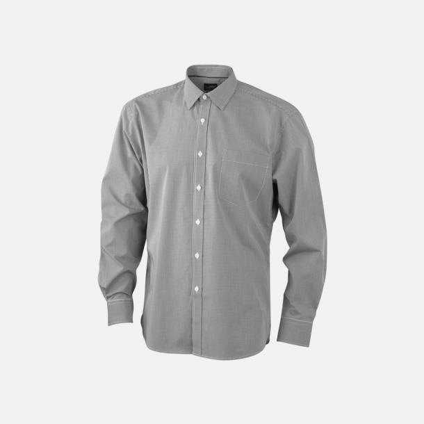 Vit/Svart (herr) Bomullslusar & -skjortor med fina rutor - med reklamtryck