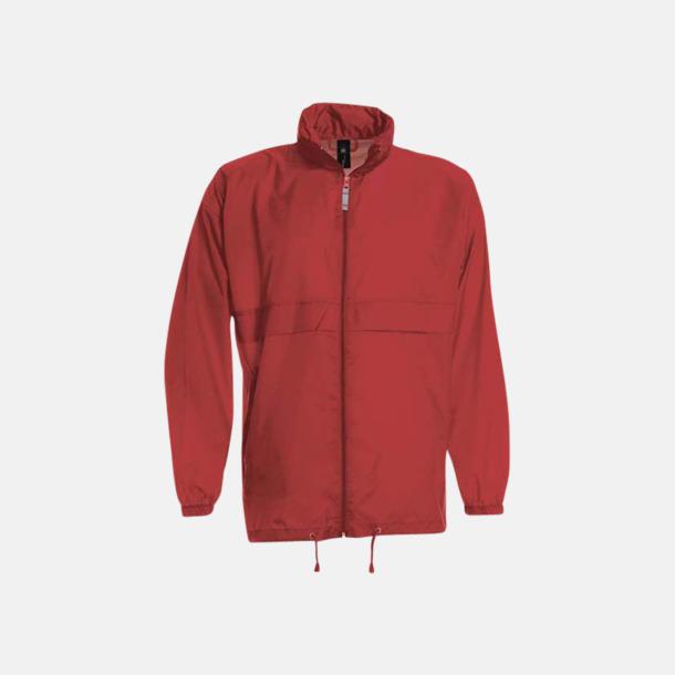 Röd (unisex) Vind- och vattentäta jackor för dam, herr och barn - med tryck