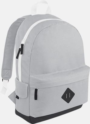 Ljusgrå Retroryggsäckar med reklamtryck eller -brodyr