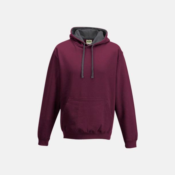 Burgundy/Charcoal (heather) Huvtröjor med insida av luva och dragsko i kontrasterande färg - med reklamtryck