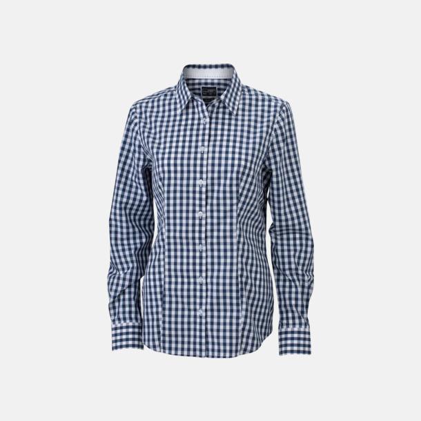 Marinblå/Vit (dam) Rutiga bomullsskjortor & -blusar med reklamtryck