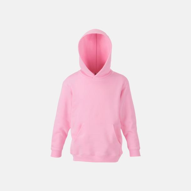 Ljusrosa Tjocktröjor med huva och framficka för barn