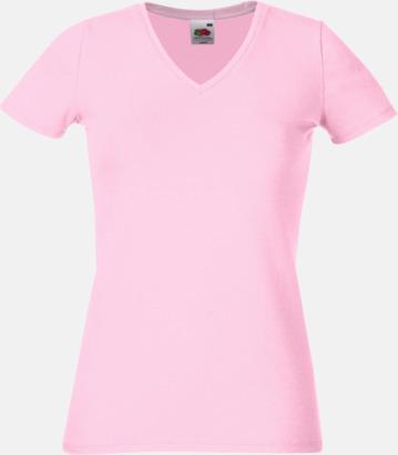 Ljusrosa V-ringad damtshirt med reklamtryck